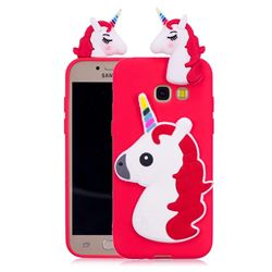 Unicorn Soft 3D Silicone Case for Samsung Galaxy A3 2017 A320 - Red
