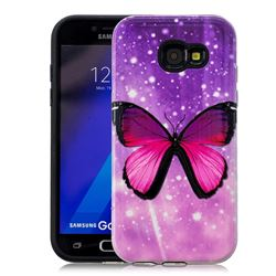 Glossy Butterfly Pattern 2 in 1 PC + TPU Glossy Embossed Back Cover for Samsung Galaxy A3 2017 A320