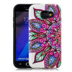 Mandara Flower Pattern 2 in 1 PC + TPU Glossy Embossed Back Cover for Samsung Galaxy A3 2017 A320