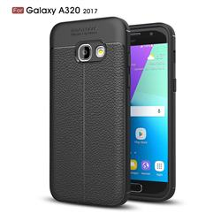Luxury Auto Focus Litchi Texture Silicone TPU Back Cover for Samsung Galaxy A3 2017 A320 - Black