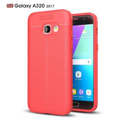 Luxury Auto Focus Litchi Texture Silicone TPU Back Cover for Samsung Galaxy A3 2017 A320 - Red