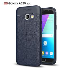 Luxury Auto Focus Litchi Texture Silicone TPU Back Cover for Samsung Galaxy A3 2017 A320 - Dark Blue