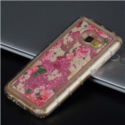 Rose Flower Glassy Glitter Quicksand Dynamic Liquid Soft Phone Case for Samsung Galaxy A3 2017 A320