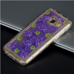 Purple Grape Glassy Glitter Quicksand Dynamic Liquid Soft Phone Case for Samsung Galaxy A3 2017 A320