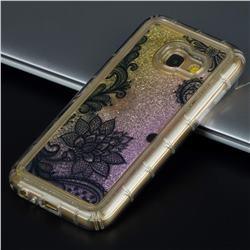 Diagonal Lace Glassy Glitter Quicksand Dynamic Liquid Soft Phone Case for Samsung Galaxy A3 2017 A320