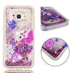 Purple Flower Butterfly Dynamic Liquid Glitter Quicksand Soft TPU Case for Samsung Galaxy A3 2017 A320