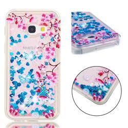 Blue Plum Blossom Dynamic Liquid Glitter Quicksand Soft TPU Case for Samsung Galaxy A3 2017 A320