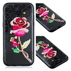Rose Lace Diamond Flower Soft TPU Back Cover for Samsung Galaxy A3 2017 A320