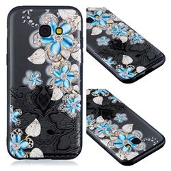 Lilac Lace Diamond Flower Soft TPU Back Cover for Samsung Galaxy A3 2017 A320