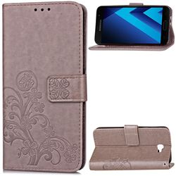 Embossing Imprint Four-Leaf Clover Leather Wallet Case for Samsung Galaxy A3 2017 A320 - Grey