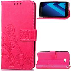 Embossing Imprint Four-Leaf Clover Leather Wallet Case for Samsung Galaxy A3 2017 A320 - Rose
