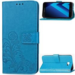 Embossing Imprint Four-Leaf Clover Leather Wallet Case for Samsung Galaxy A3 2017 A320 - Blue