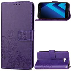 Embossing Imprint Four-Leaf Clover Leather Wallet Case for Samsung Galaxy A3 2017 A320 - Purple