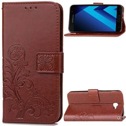 Embossing Imprint Four-Leaf Clover Leather Wallet Case for Samsung Galaxy A3 2017 A320 - Brown