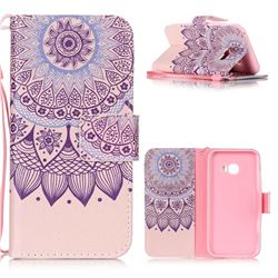Purple Sunflower Leather Wallet Phone Case for Samsung Galaxy A3 2017 A320