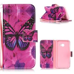 Black Butterfly Leather Wallet Phone Case for Samsung Galaxy A3 2017 A320