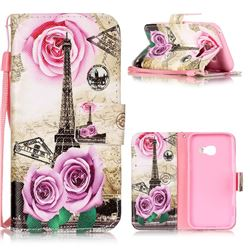 Rose Eiffel Tower Leather Wallet Phone Case for Samsung Galaxy A3 2017 A320