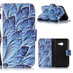 Blue Feather Leather Wallet Phone Case for Samsung Galaxy A3 2017 A320