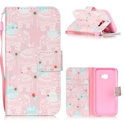 Pink Elephant Leather Wallet Phone Case for Samsung Galaxy A3 2017 A320