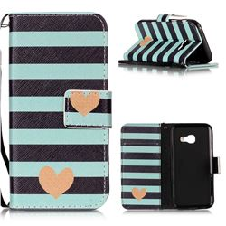 Blue Stripe Heart Leather Wallet Phone Case for Samsung Galaxy A3 2017 A320