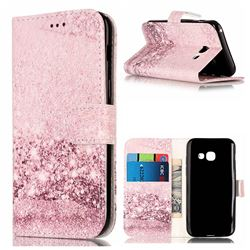 Glittering Rose Gold PU Leather Wallet Case for Samsung Galaxy A3 2017 A320