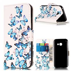 Blue Vivid Butterflies PU Leather Wallet Case for Samsung Galaxy A3 2017 A320