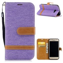 Jeans Cowboy Denim Leather Wallet Case for Samsung Galaxy A3 2017 A320 - Purple