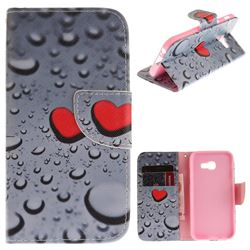 Heart Raindrop PU Leather Wallet Case for Samsung Galaxy A3 2017 A320