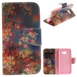 Colored Flowers PU Leather Wallet Case for Samsung Galaxy A3 2017 A320
