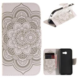 White Flowers PU Leather Wallet Case for Samsung Galaxy A3 2017 A320