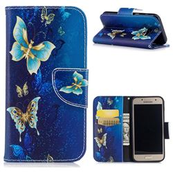 Golden Butterflies Leather Wallet Case for Samsung Galaxy A3 2017 A320