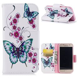 Peach Butterflies Leather Wallet Case for Samsung Galaxy A3 2017 A320
