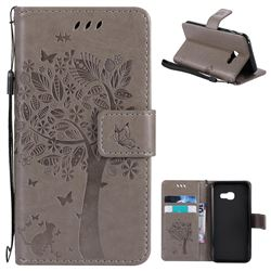 Embossing Butterfly Tree Leather Wallet Case for Samsung Galaxy A3 2017 A320 - Grey