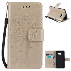 Embossing Butterfly Tree Leather Wallet Case for Samsung Galaxy A3 2017 A320 - Champagne