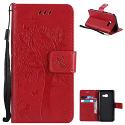 Embossing Butterfly Tree Leather Wallet Case for Samsung Galaxy A3 2017 A320 - Red