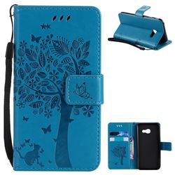 Embossing Butterfly Tree Leather Wallet Case for Samsung Galaxy A3 2017 A320 - Blue
