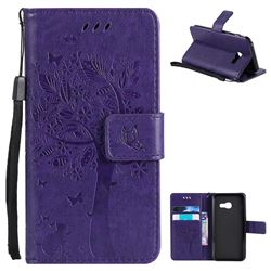 Embossing Butterfly Tree Leather Wallet Case for Samsung Galaxy A3 2017 A320 - Purple