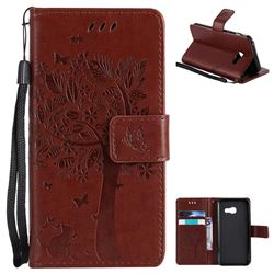 Embossing Butterfly Tree Leather Wallet Case for Samsung Galaxy A3 2017 A320 - Brown