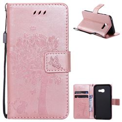 Embossing Butterfly Tree Leather Wallet Case for Samsung Galaxy A3 2017 A320 - Rose Pink
