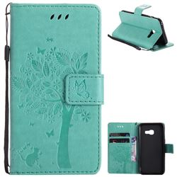 Embossing Butterfly Tree Leather Wallet Case for Samsung Galaxy A3 2017 A320 - Cyan