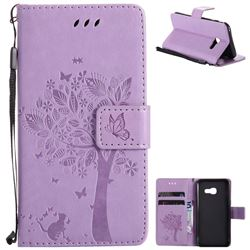 Embossing Butterfly Tree Leather Wallet Case for Samsung Galaxy A3 2017 A320 - Violet