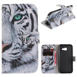 White Tiger PU Leather Wallet Case for Samsung Galaxy A3 2017 A320