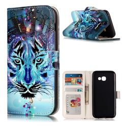 Ice Wolf 3D Relief Oil PU Leather Wallet Case for Samsung Galaxy A3 2017 A320