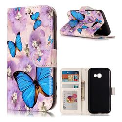 Purple Flowers Butterfly 3D Relief Oil PU Leather Wallet Case for Samsung Galaxy A3 2017 A320