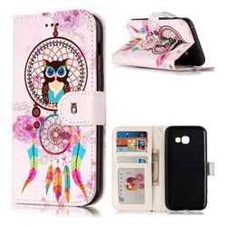 Wind Chimes Owl 3D Relief Oil PU Leather Wallet Case for Samsung Galaxy A3 2017 A320