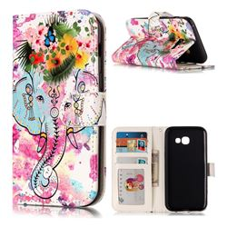Flower Elephant 3D Relief Oil PU Leather Wallet Case for Samsung Galaxy A3 2017 A320