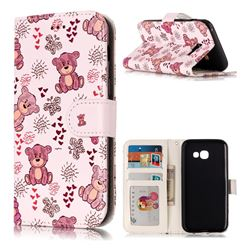Cute Bear 3D Relief Oil PU Leather Wallet Case for Samsung Galaxy A3 2017 A320