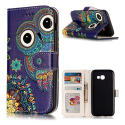 Folk Owl 3D Relief Oil PU Leather Wallet Case for Samsung Galaxy A3 2017 A320