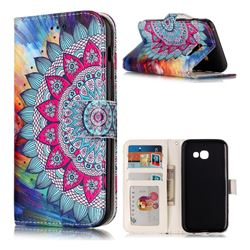 Mandala Flower 3D Relief Oil PU Leather Wallet Case for Samsung Galaxy A3 2017 A320