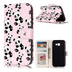 Cute Panda 3D Relief Oil PU Leather Wallet Case for Samsung Galaxy A3 2017 A320